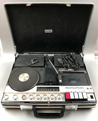 Retro Vintage Portable Salesman Bohsei Stereo Sound System Model 6100 Briefcase