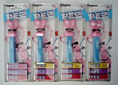 4 X COLLECTIBLE ENERGIZER BUNNY PEZ Dispenser Limited Kroger Promo NEW on Card