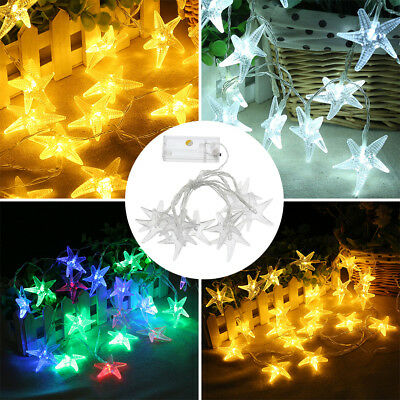 10LED Sea Star String Fairy Light Battery Operate Holiday Wedding Party Decor