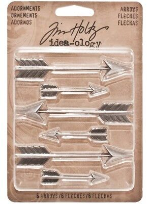 Tim Holtz Idea-ology 'ARROWS' 6pc Metal Embellishments Scrapbooking/Cardmaking