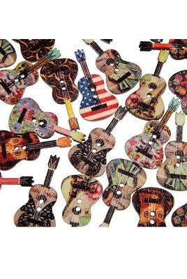50 Pcs Mixed Wood Buttons 2 Holes Flower Guitar Shape Sewing Scrapbooking Frugal