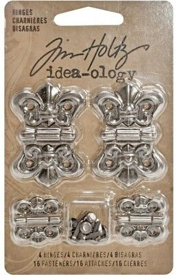 Tim Holtz Idea-ology 'HINGES' 4pc + brads Metal Embellishments Scrapbooking