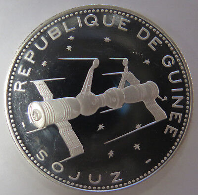 1970 Guinee Guinea 250 Francs Proof Silver Coin Soyuz Spacecraft KM# 21