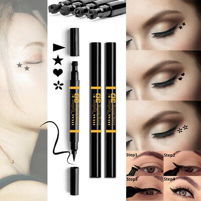 2 in 1 Waterproof Black Liquid Eyeliner With Tattoo Stamp Seal Eye Liner Pen