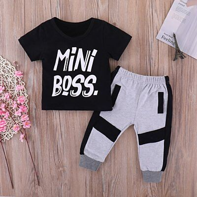 2PCS Toddler Kids Baby Boy Casual Tops T-shirt Pants Outfits Clothes Set Caual