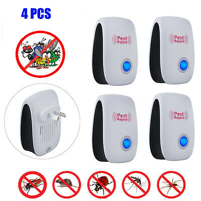 4 Electronic Ultrasonic Anti Pest Cockroach Bug Mosquito Mouse Killer Repeller