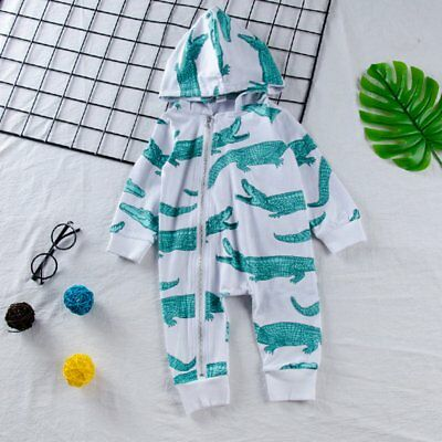 Cute Newborn Infant Baby Boy Girl Zipper Hooded Romper Jumpsuit Clothes Outfit