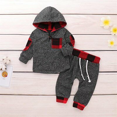 Newborn Toddler Baby Boy Girl Hooded Sweater Tops+Pants Outfits 2pcs Set Clothes
