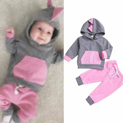 2PCS Toddler Kids Baby Girls Sweatshirt Hoodie Tops+Pants Outfits Clothes Set