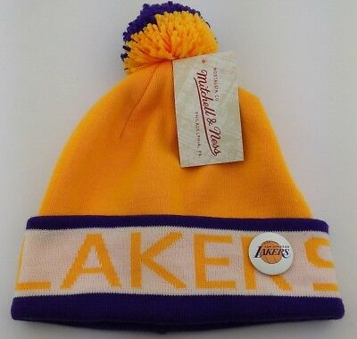 Los Angeles Lakers Cuffed Knit Pom Beanie/MLB/Winter Hat/Mitchell & Ness