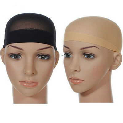 2pcs Wig Cap Nude Stretch Breathable Stocking Nylon  Hair Liner Black