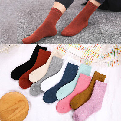 1 Pair Men Socks Autumn Winter Outdoor Warm Thick Socks Cotton Solid Color