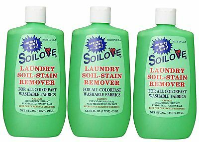 3 Pack of Soilove Laundry Soil-Stain Remover 16 OZ FAST SHIPPING ORIGINAL USA