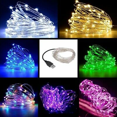 50/100/200 LEDs USB Micro Rice Wire Copper Fairy String Lights Party Xmas Gifts