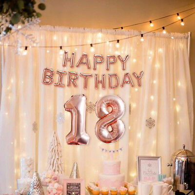 """Self Inflating 16"""" INCH Foil Number+Letters ROSE BALLOONS Happy Birthday Ballons"""