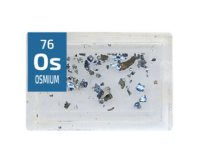 Osmium Os 99.9% element in Periodic Element Tile .2 gram Crystal .33 gram pieces