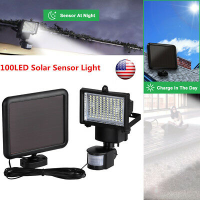 100 LED Solar Powered PIR Motion Sensor Security Wall Light Outdoor Garden Lamp