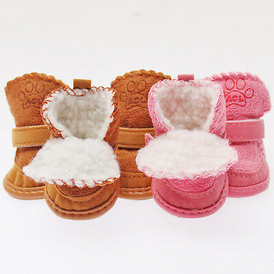 UK Pet Dog Winter Warm Boots Puppy Anti-Slip Snow Booties Shoes Protective 4PC