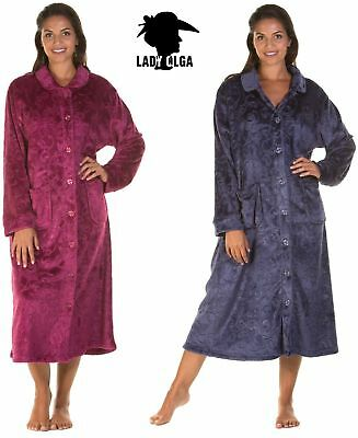 Ladies Soft Cozy button up dressing gown robe cover up housecoat 10/24