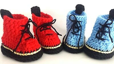 BABY HANDMADE SHOES BOOTIES crochet SHOES REDS BLUE LACES BOOTS