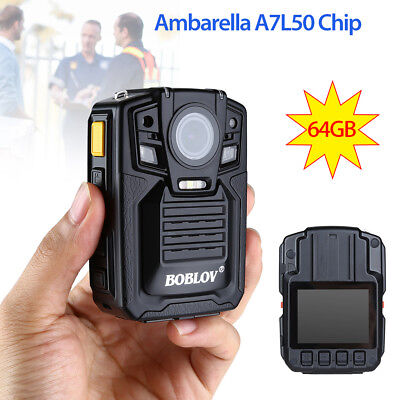 Infrared HD 1296p Police Use Body Worn Video Camera Security DVR 64GB + Battery