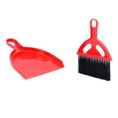 Milestone Small Red Dustpan And Brush Compact Plastic Gardening Camping Home