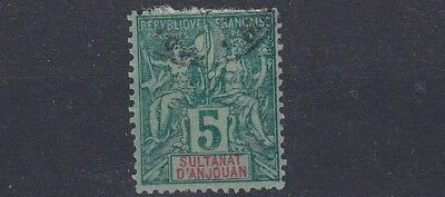 French Colonies  Anjouan 1892  Sg  4 5C Green Pale Green Used Paper Remains
