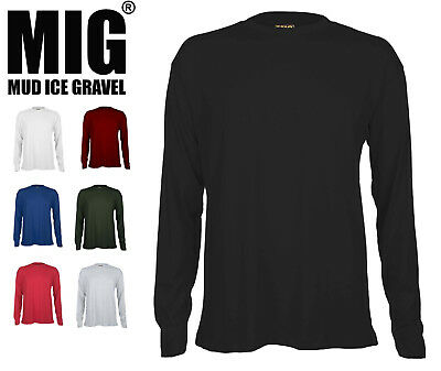 Mens Long Sleeve T Shirt - 100% Breathable Cotton Shirts By MIG - 314