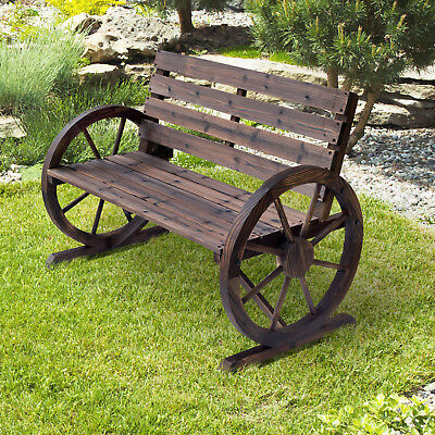 Outsunny Wooden Cart Wagon Wheel 2 Seater Garden Bench Outdoor Armrest Chair