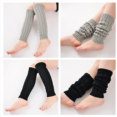 Women Lady Winter Warm Leg Warmers Cable Knit Knitted Crochet Sock Legging UK