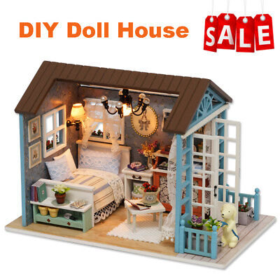DIY Miniature Wooden Doll House Studio Kit LED Light Furniture Handcraft Kid Toy