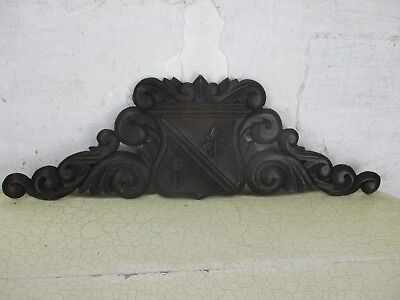 Small Hand Carved Pediment Ornate Over door Architectural French Fleur de Lis
