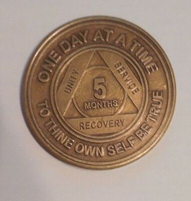 aa bronze alcoholics anonymous 5 months sobriety chip coin token medallion