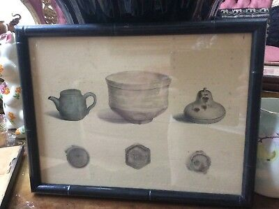 2 Antique Japanese signed original archeological paintings of clay