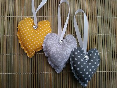 padded fabric hanging hearts grey/mustard yellow floral and polka dots bedroom