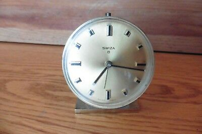 Swiza 8 Days Alarm Clock Vintage Swiss made 7 Jewels