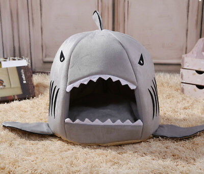 Soft Shark Mouth Doghouse Dog Cat Warm Nest Kennel Pet Sleeping Bed with Cushion