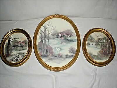 3-Piece Home Interior Watercolor Prints,  HOMCO #3280, Oval Framed Cottage/Lake