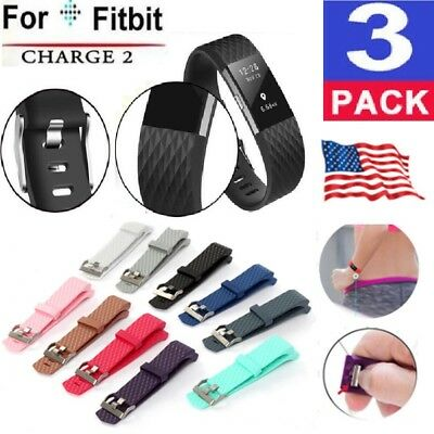 3 Pack Replacement Wristband For Fitbit Charge 2 Band Silicone Fitness S / M USA