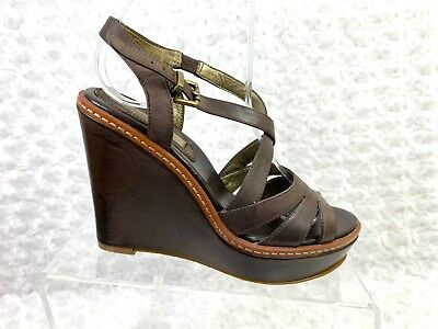67751fa15a Women's Banana Republic Brown Leather Strappy Slingback Wedges- Size 6.5M
