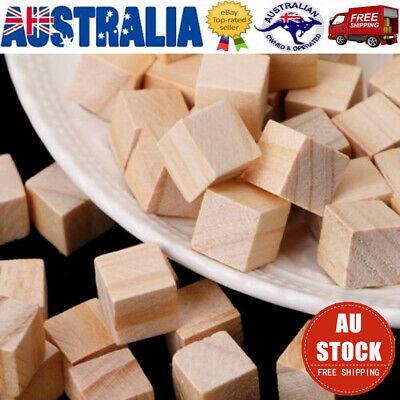 100X Handcrafts Square Wooden Pieces Building Block Educational Toy for Kids AU