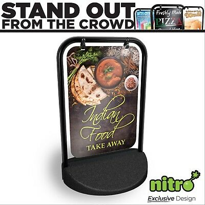 Indian Food Swinging Pavement Sign Outdoor Display Shop Take Away Curry Eat In