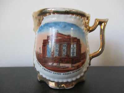 Circa 1915 Souvenir Porcelain Mug Essex County Court House Newark New Jersey