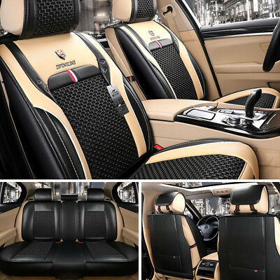 Top Luxury 5-Seat Car SUV Seat Cover PU Leather & Comfort Mesh Black Cushion Set