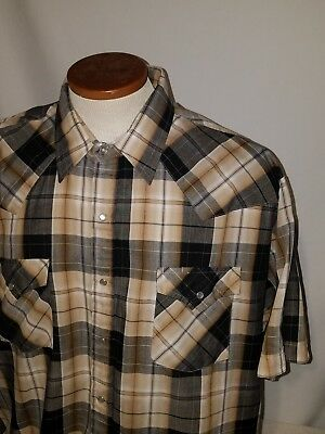 daa626e8 Ely Cattleman Mens Lg Short Sleeve Pearl Snap Multi-Color Plaid Western  Shirt