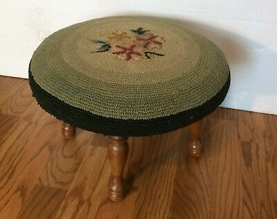 Antique Vintage Round Green Needlepoint Footstool Wooden Legs Flowers