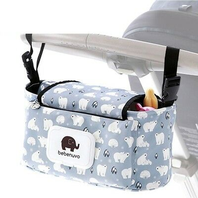 Baby Stroller Portable Holder Bags Printing Mummy Pram Diaper Cup Accessories
