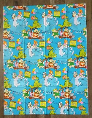 Flinstones Wrapping Paper Fred Barney Wilma Betty Vintage 1975 Hanna Barbera NOS