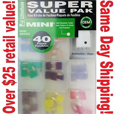 new 40pc mini blade fuse assortment auto car motorcycle suv fuses kit apm  atm