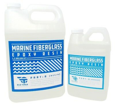 Boat Marine Wood Fiberglass Epoxy Resin - Old Timer Ind. 1.5 Gallon Marine Epoxy
